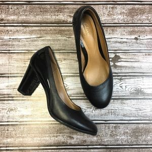 Clarks Collection Black Leather High Heels 8.5
